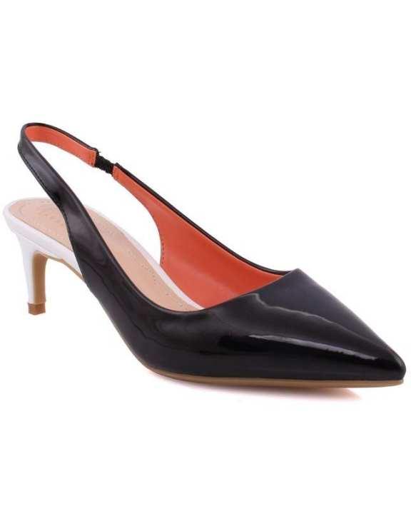 "Women ""LENA"" Pointy Toe Low Heel Court Shoes Black/White L30371"
