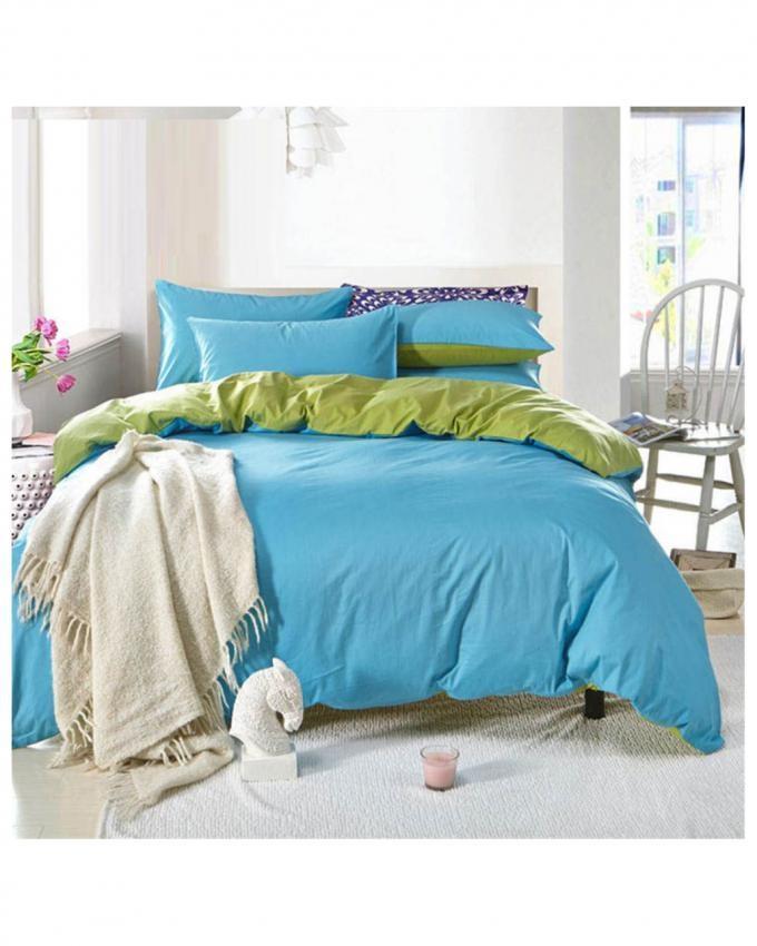Aqua Blue and Parrot Green - Cotton Bed Set - d-01