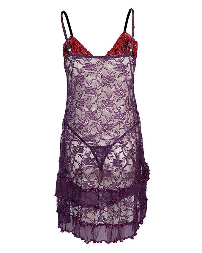 Purple Polyester Nightwear for Women - CL0078