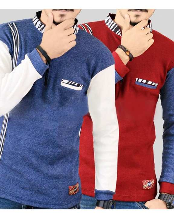 Pack Of 2 - Multicolor Cotton Full Sleeves Winter Tshirts For Men