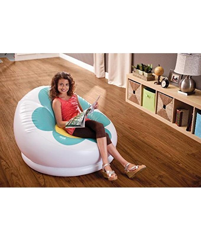 Inflatable Blossom Chair With Free Pump - Green & White