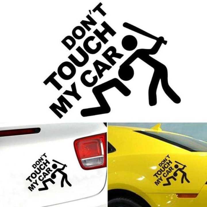 Sailnovo 7.9cm x 7.5cm Funny Car Stricker Don't Touch My Car Pattern Sticker Car Bumper Window Wall Decal Sticker Auto Stickers