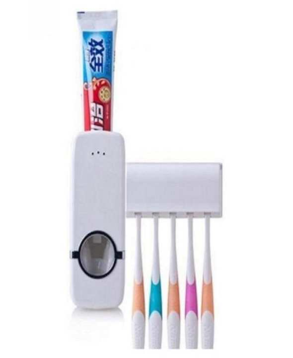 Toothpaste Dispenser with Toothbrush Holder Set  - White