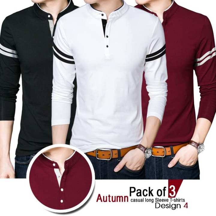 Pack Of 3 Autumn Casual Long Sleeve T-Shirts