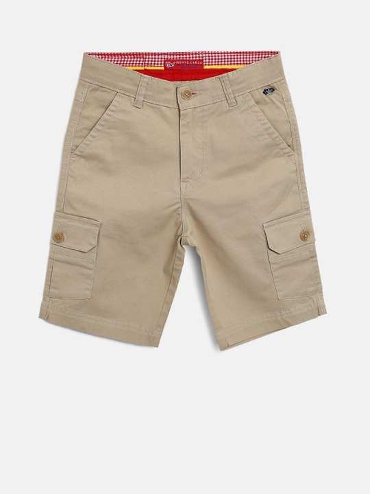 Beige Solid Regular Fit Cargo Shorts