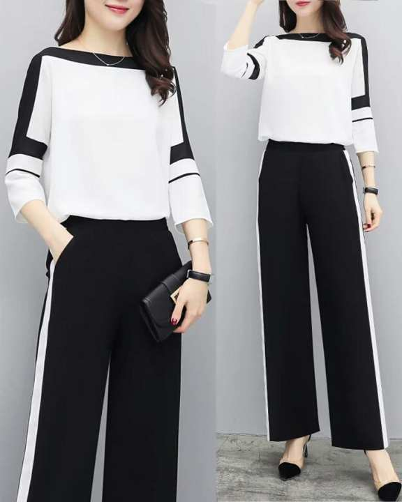 BRANDSTITCH - 2 Piece Black & White Panel Boski Suit For Women
