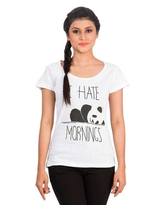 White Cotton Half Sleeves Round Neck I Hate Mornings Panda Printed T-Shirt For Women