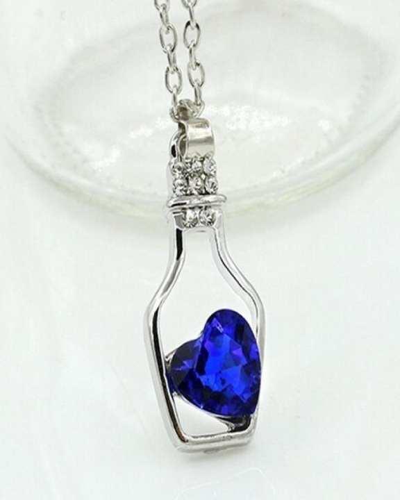 Blue Bottle of Love Pendant Necklace for Women