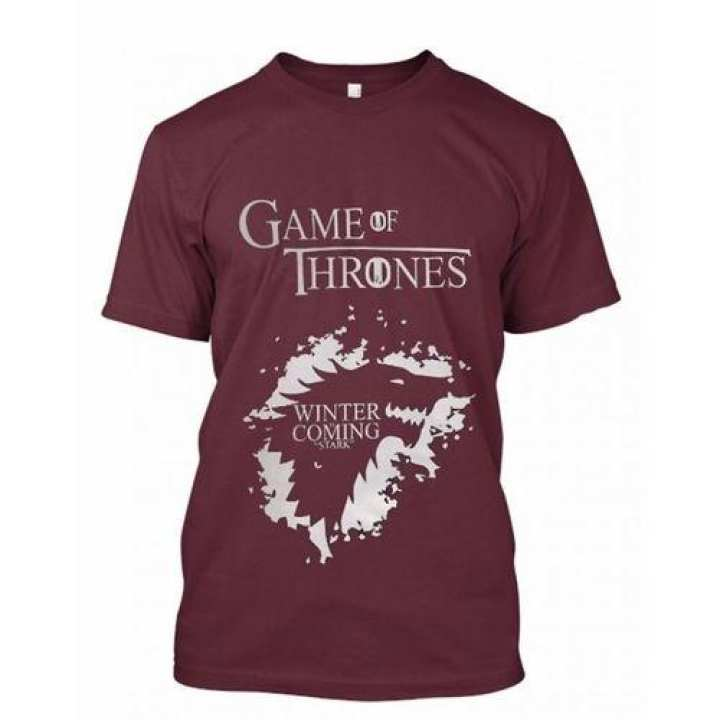 Game Of Thrones Maroon Printed Tshirt For Men HT-285