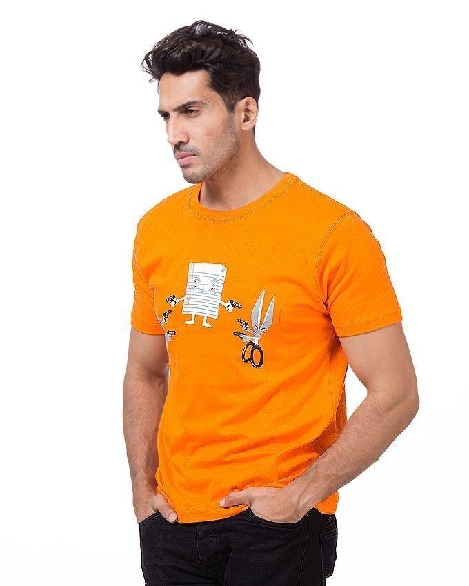 Orange Cotton Printed T-Shirt For Men
