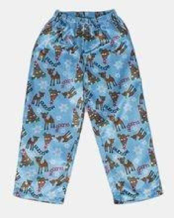 Light Blue Rudolph At Snow Flake Printed Polyester Satin Pajama - Gp 012