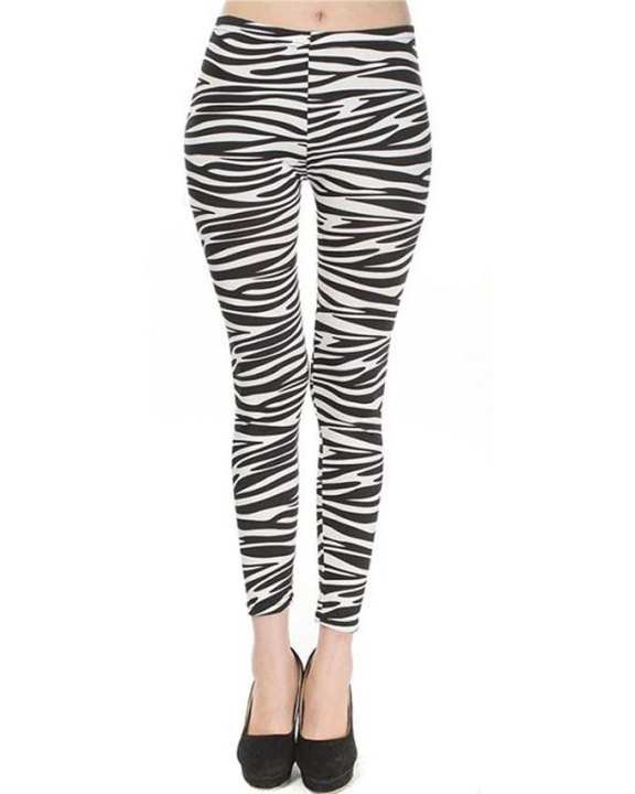 Black & White Cotton Zebra Patterned Tights For Women