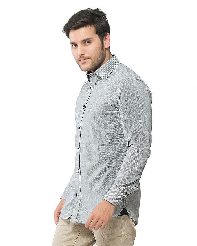 Grey Cotton Printed Shirt for Men - FS16020