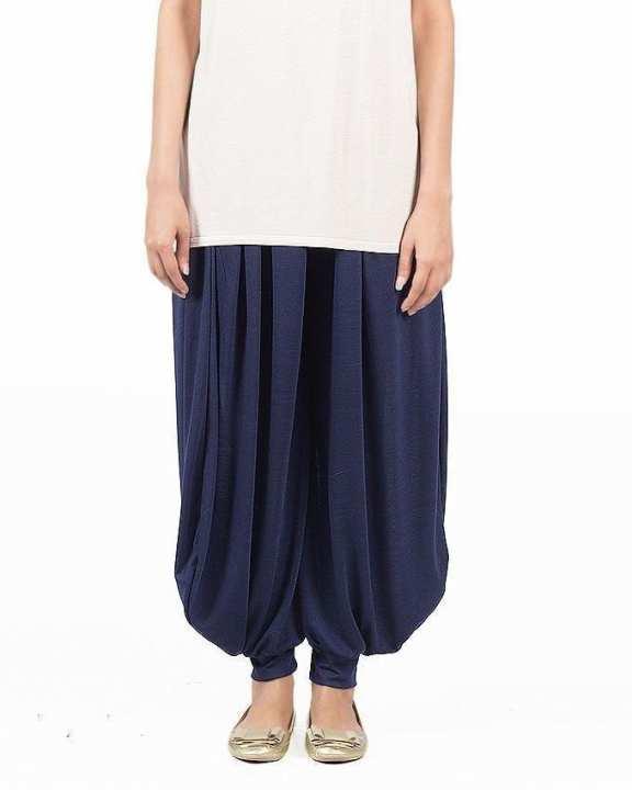 Royal Blue Viscose Harem Pants For Women