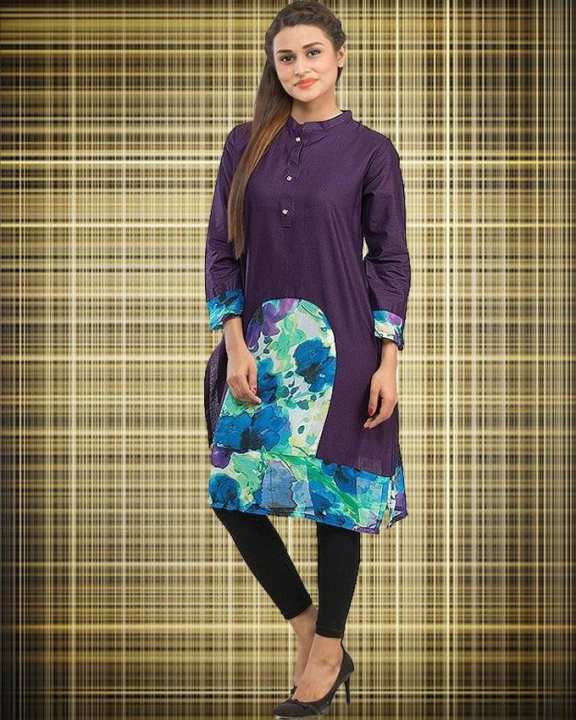 Purple Cotton Printed Kurta with Front Placket for Women - 14192