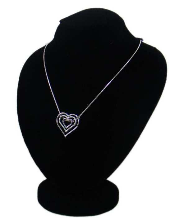 Metal Triple Heart Shape Pendant for Women - Silver