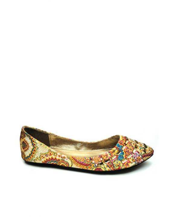 Off White Ballerina Flats with Multicolor Print - European Size