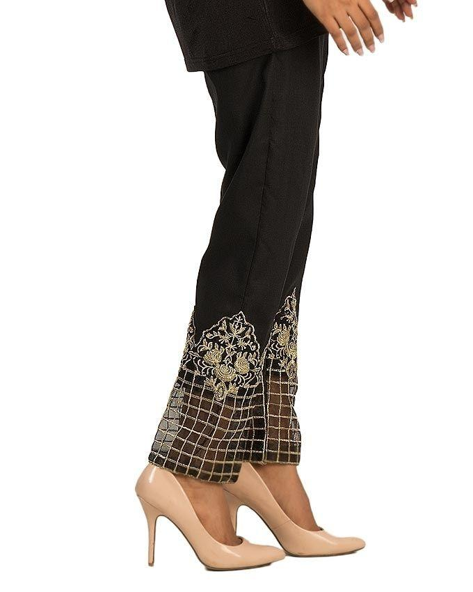 Black Cotton Embroidered Pant For Women