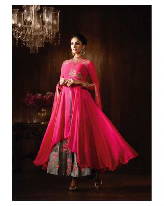 Soliciting Pink Georgette & Chiffon Lehenga Style Suit - 8061