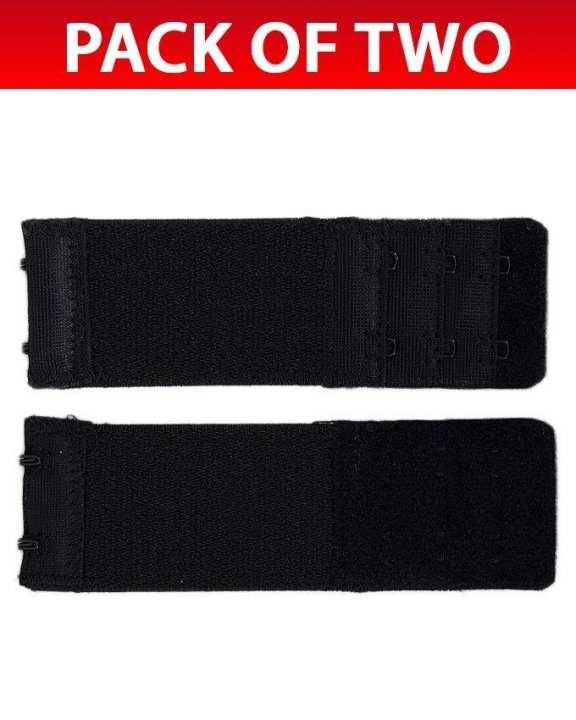 Pack of 2 Black Brushed Nylon 2x3 Hook & Eye Bra Extenders For Women