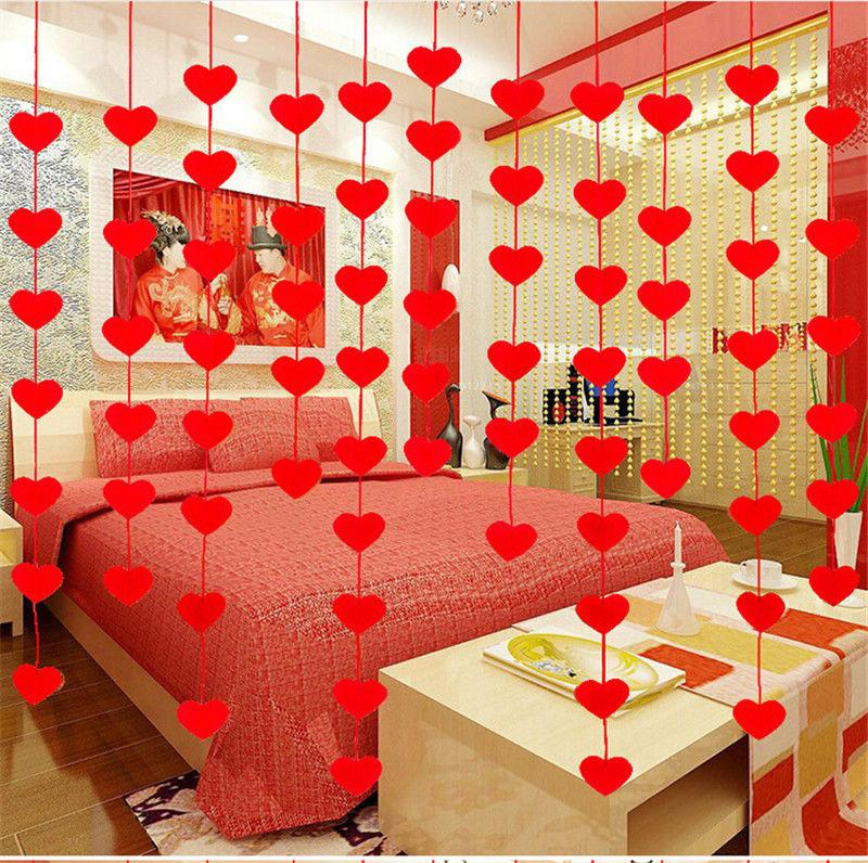 larebjezzy 50 pcs - Red Love Heart Curtain Non-woven Garland Flags Banner Wedding Room Decoration Birthday Party Supplies Bunting