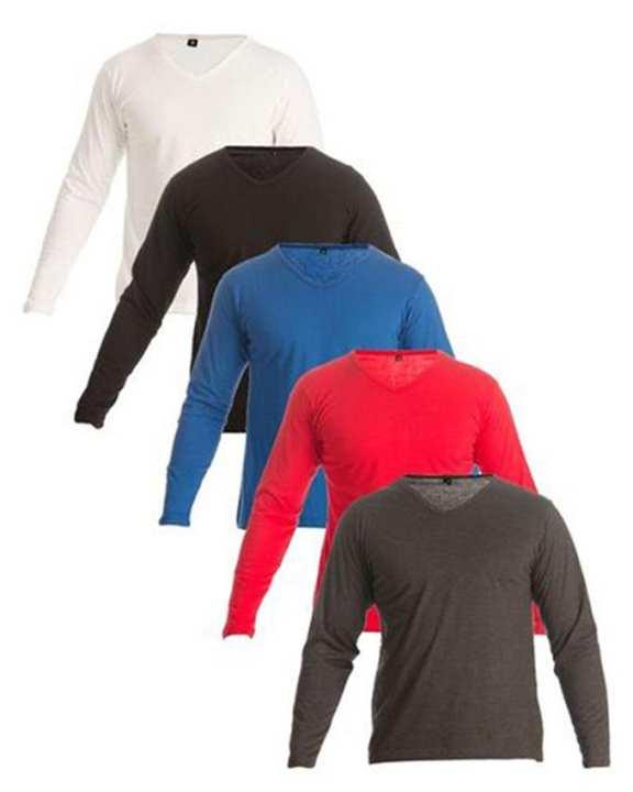 Pack of 5 - Multicolor Cotton V-neck T-shirts for Men