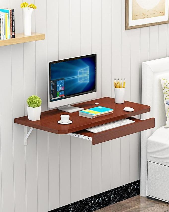 Product Details Of Portable Table Laptop Table Simple Office Wall Mounted  Computer Desk Furniture Brown