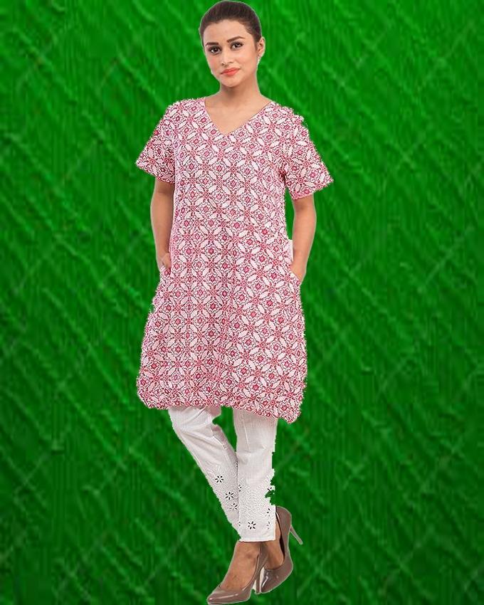 White & Pink Short Printed Kurta