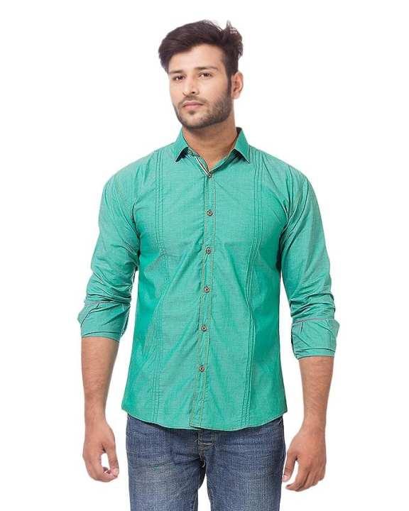 Green Cotton Plain Casual Slim Fit Shirt For Men - BU-197