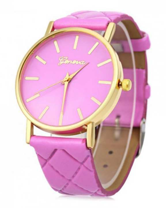Pink Leather Watch For Women
