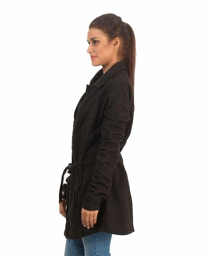 Black Fleece Long Coat For Women