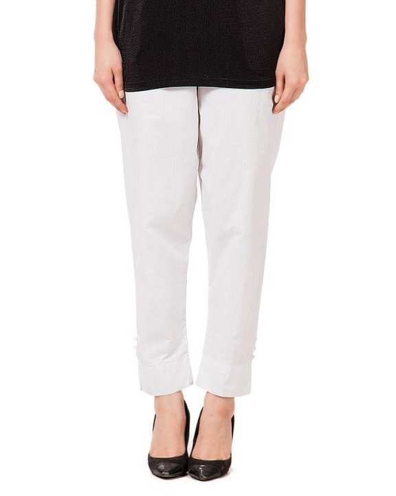 White Cotton Cigarette Pant For Women