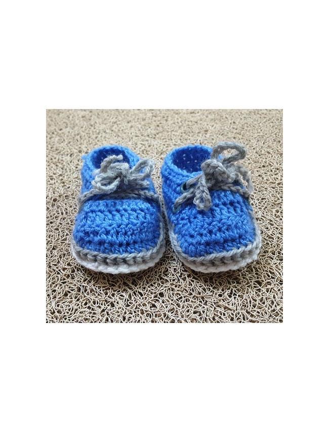 Handmade Crochet Blue & White Snickers Booties