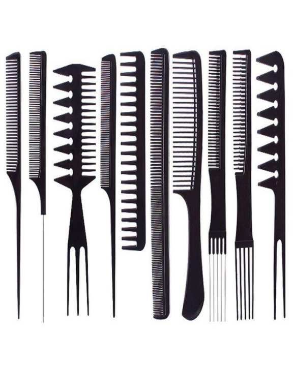 Pack of 10 - Professional Salon Hair Comb Set - Black