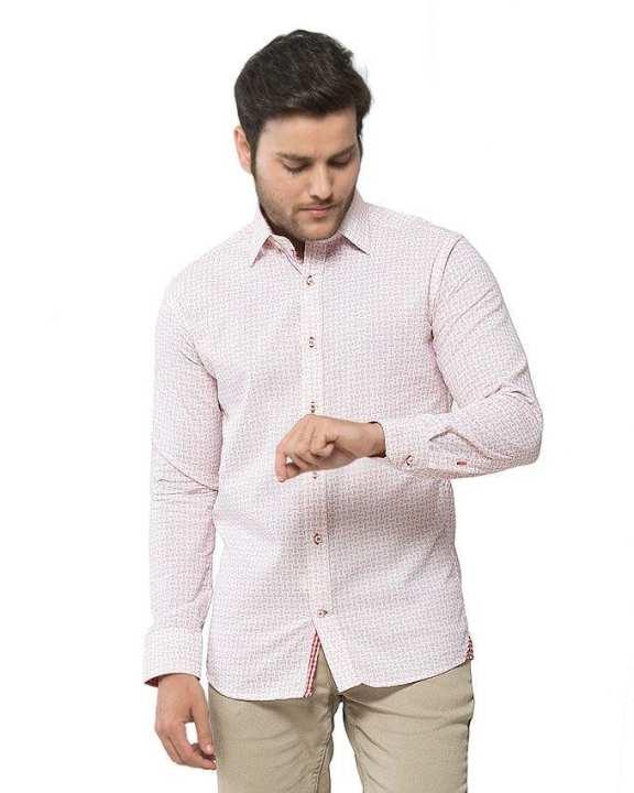 White Cotton Checkered Shirt for Men