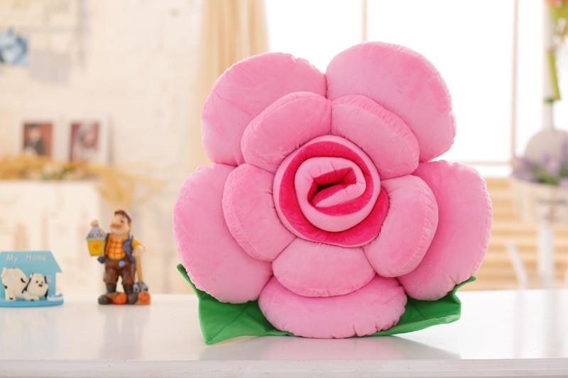 3D Colorful Rose Flowers Throw Pillow Plush Cushion Valentines Gift