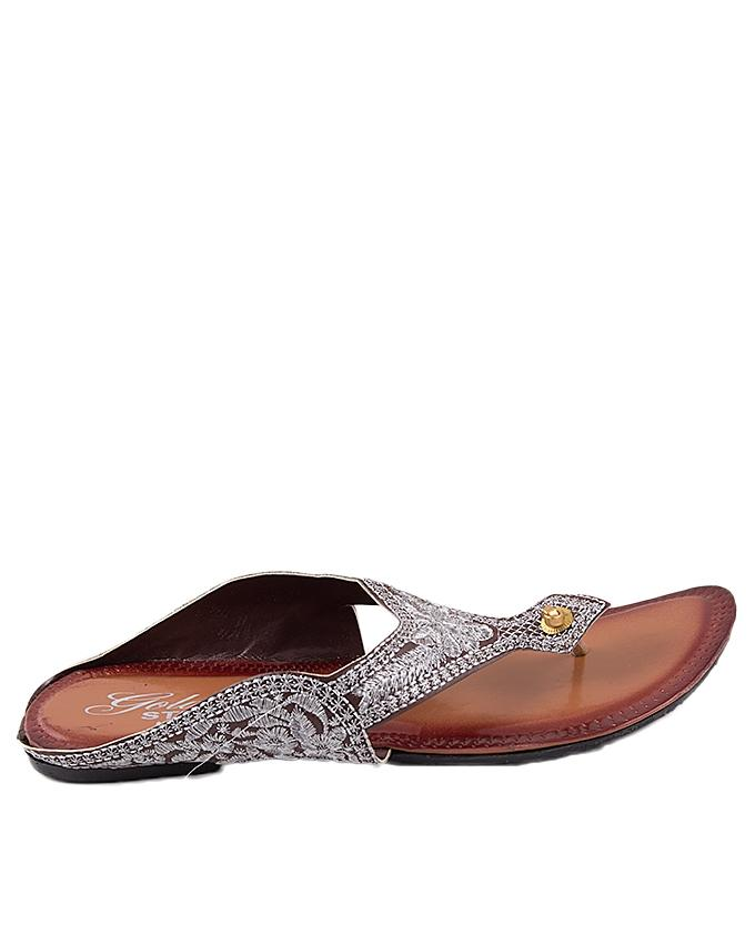 Brown Leather with Embroidery V-Strap for Women - US4