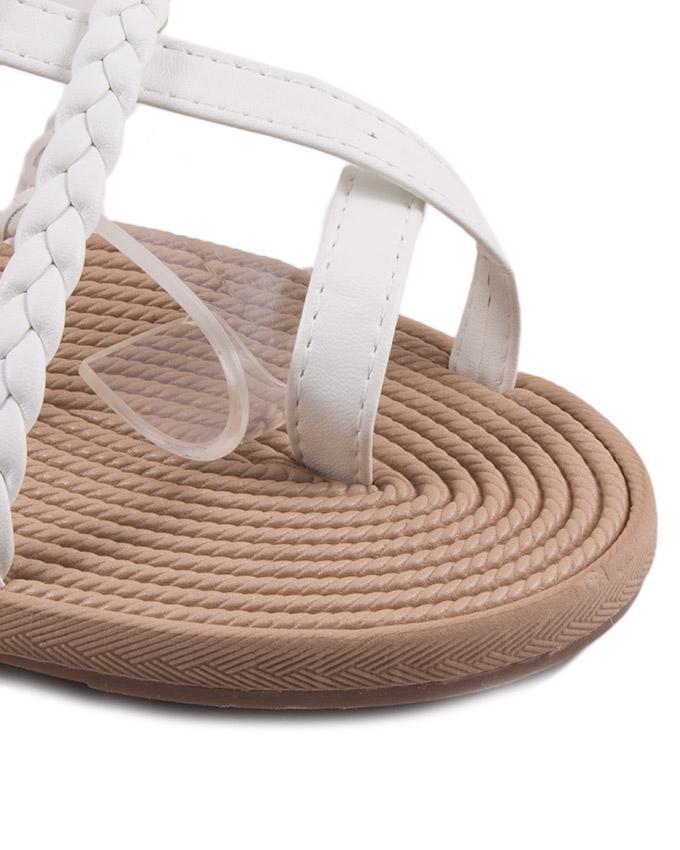 White Leather Sandal For Women