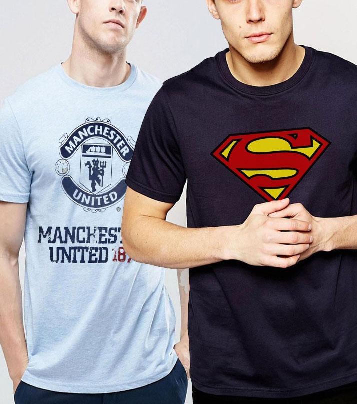 The Shop - Pack Of 2 - Navy Blue, Sky Blue Tshirt For Men - Sb-nb1
