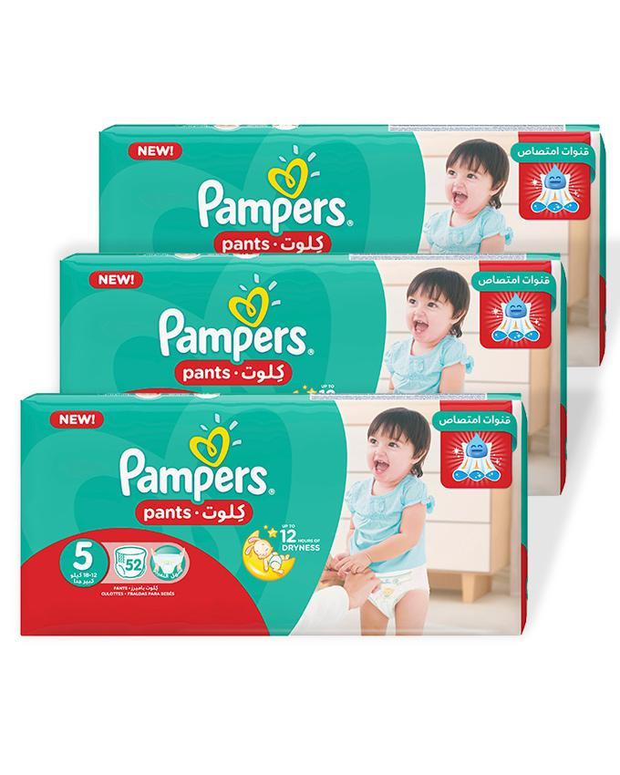 Pampers Pack of 3 Baby Dry Diapers Pants Size 5, 52 Count