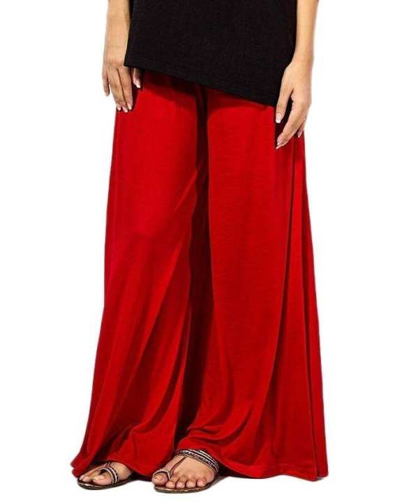 Red Jersey Palazzo Pants For Women
