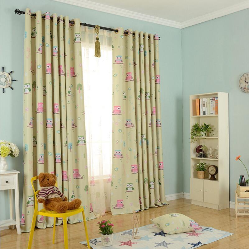2pcs 100*250cm Owl Blackout Cloth Children's Room Bedroom Living Room Balcony Curtains
