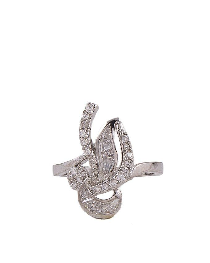 Silver Zircon & Alloy Studded Ring for Women - M-27