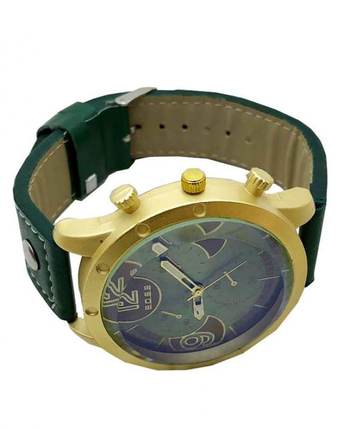 Green Leather Analog Watch For Men