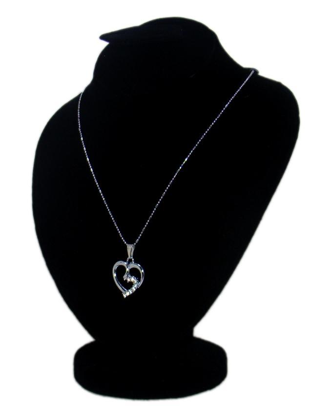 Silver Metal & Stone Heart Beautiful Pendant for Women