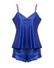 Royal Blue Polyester Satin Cami Set For Women - CHEM-006 RB