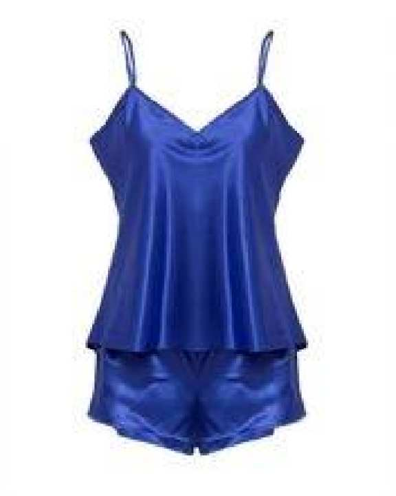Royal Blue Polyester Satin Cami Set For Women - CHEM-006 RB