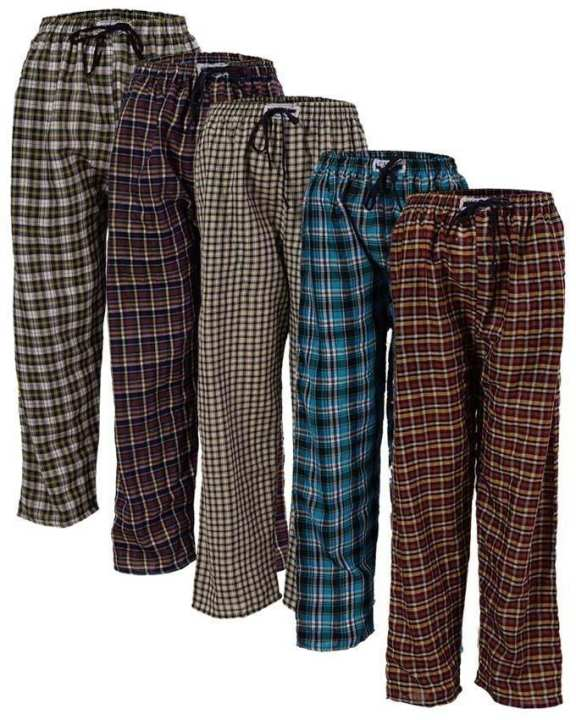 Pack Of 5 - Multicolour Cotton Checkered Pajamas For Men