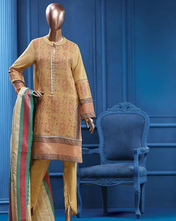 Multicolour Khaddi Unstitched Suit for Women - 3pcs - Winter Collection Volume 5, 2017