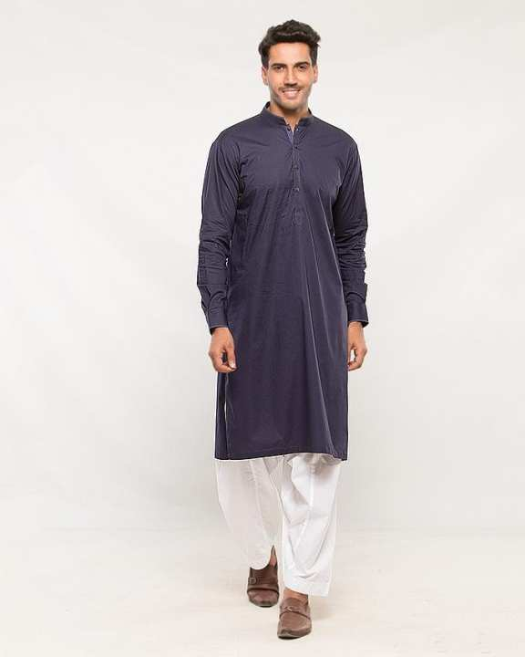 Navy Blue Cotton Kurta for Men